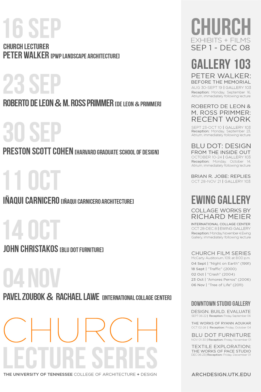 Poster for Church Lecture Series at the University of Tennessee - Knoxville. Image courtesy of UTK College of Architecture and Design.