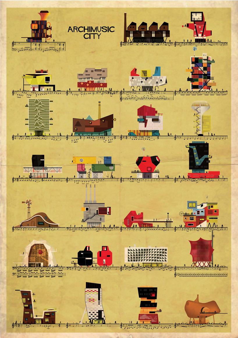 Archimusic City by Barcelona-based illustrator Federico Babina. Image via federicobabina.com