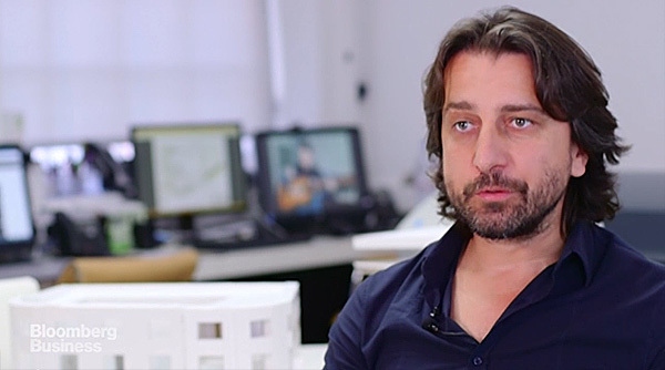 Still from Bloombergs video profile on Kosovo-born London-based architect, Perparim Rama. (Image via bloomberg.com)