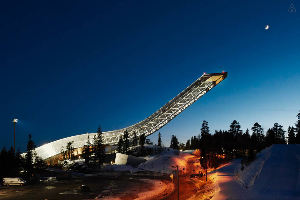 Image via the Holmenkollen ski jumps Airbnb page.