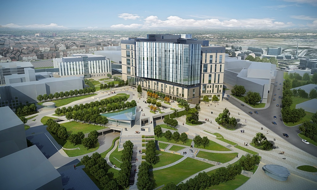 The design for the new Royal Liverpool University Hospital features a landscaped 'health campus'. Illustration: NBBJ and HKS Architects. Image via theguardian.com.