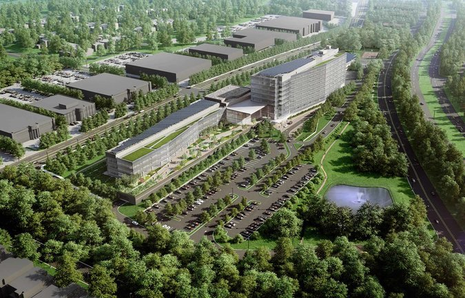 A rendering of the LG building, with the Palisades Parkway at right. Image: LG Company via nytimes.com
