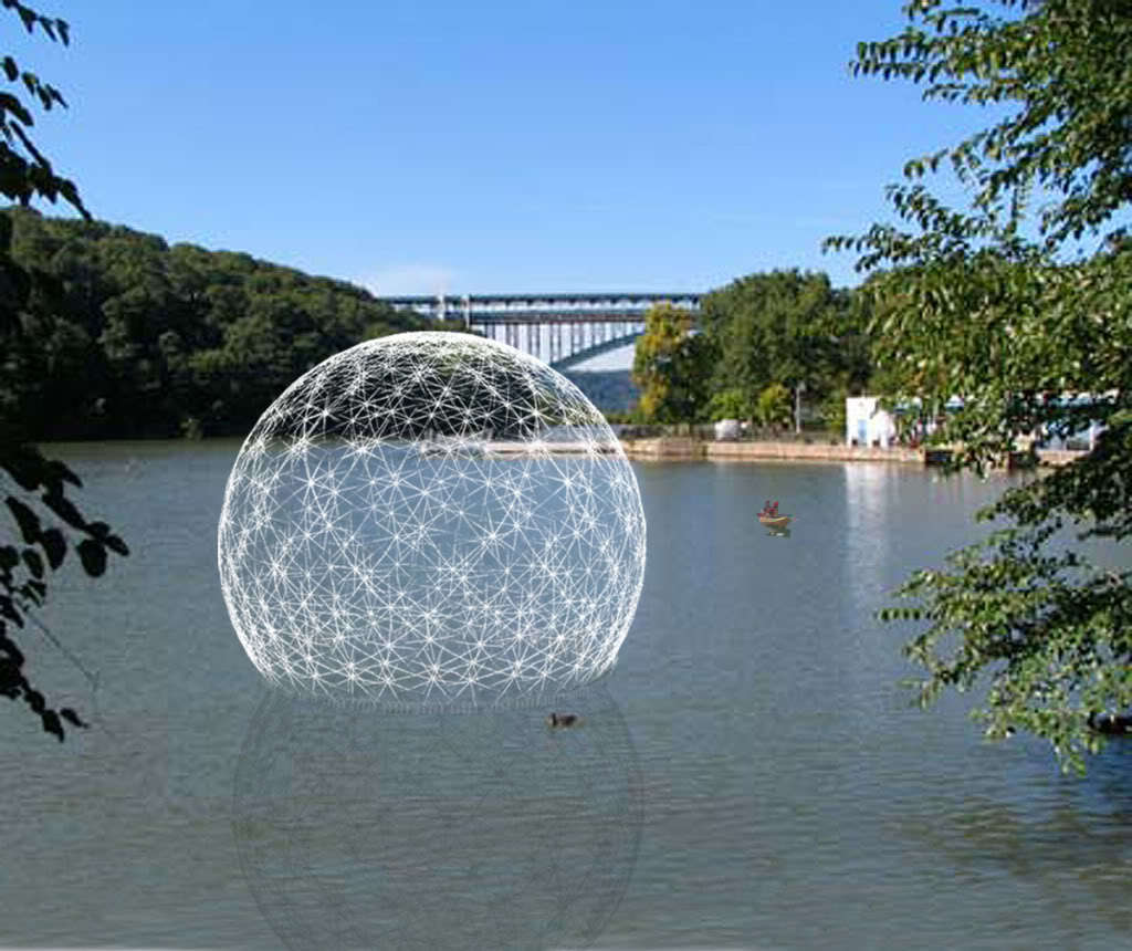 A rendering of the Harvest Dome floating in the Inwood Hill Park Inlet in New York City. The Dome was built to bring attention to NYC's waterways and watersheds.