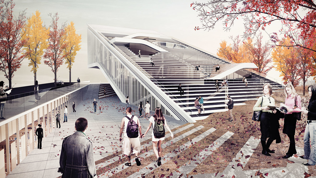 Honorable mention for Sunggi Parks entry in the Daegu Gosan Public Library competition (Image: Sunggi Park)