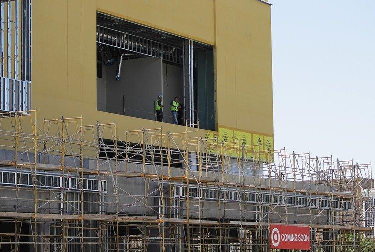 The Target building under construction. Credit: Gina Ferrazzi / LA Times