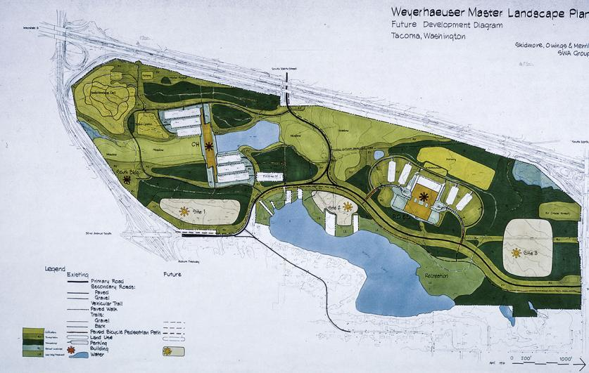 Plan of Weyerhaeuser Corporate Headquarters, Federal Way, WA - Plan courtesy of SWA