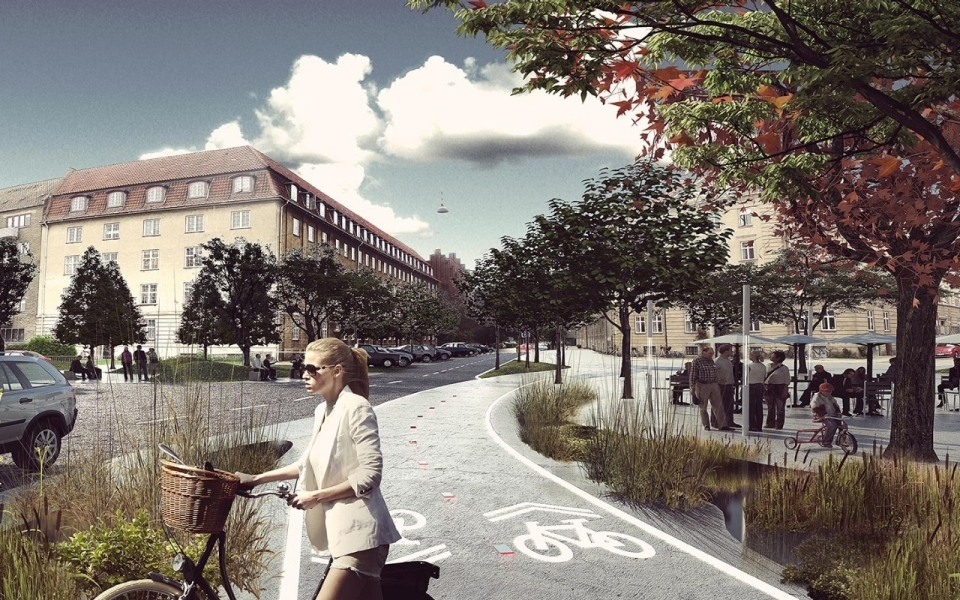A rendering of Copenhagens St. Kjeld, the first urban neighborhood in the world to prep for climate change using adaptive techniques including selective vegetations and constructed waterways. Credit: Tredje Natur
