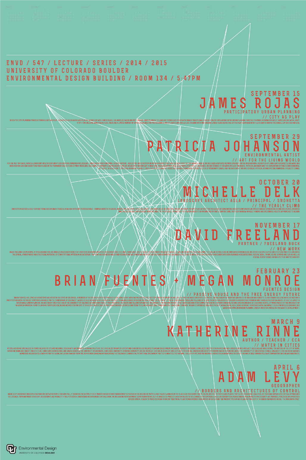 """""""5:47 Lecture Series"""" at the University of Colorado, Boulder. Poster design: Charles Newmyer. Courtesy of Charles Newmyer."""