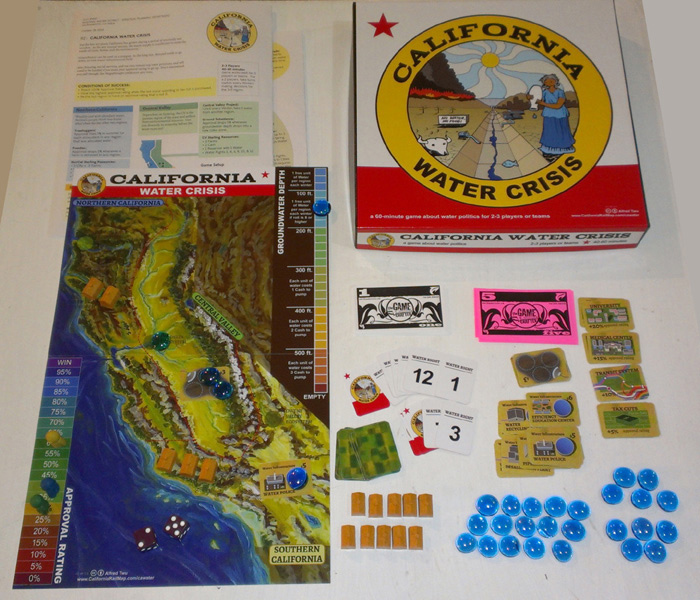"The California Water Crisis board game by Alfred Twu: ""Cities and farms both need water, and youre stuck with hard choices."" (Image via thegamecrafter.com)"