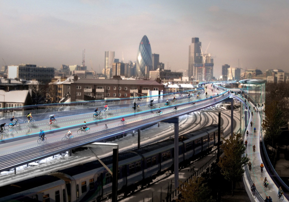 Skyride … How the proposed SkyCycle tracks could look. (Caption: The Guardian, Image: Foster and Partners)