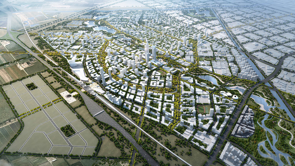 Aerial view of SOMs competition-winning Beijing Bohai Innovation City master plan (Image: SOM)