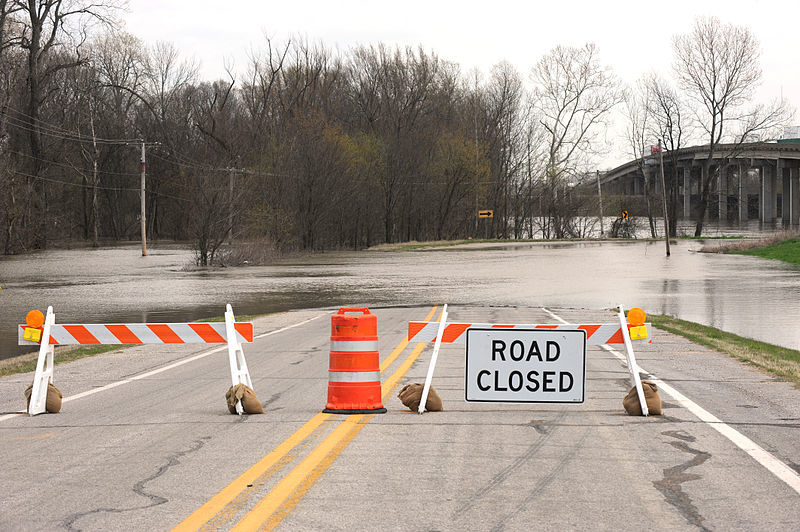 Road closed in West Memphis after flooding. Credit: WikiCommons