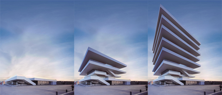 America Cup Building, David Chipperfield. Gif via