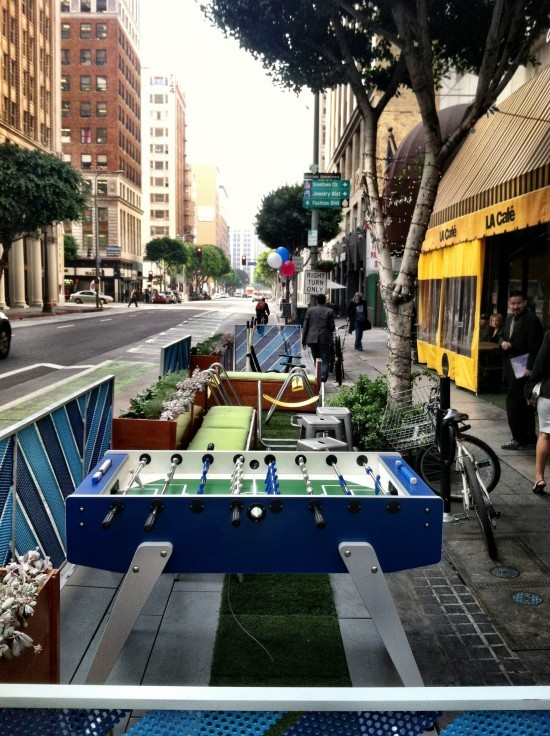 One of Los Angeles first parklets, located on Spring St. in Downtown. Photo credit: Sam Lubell for the Architects Newspaper.