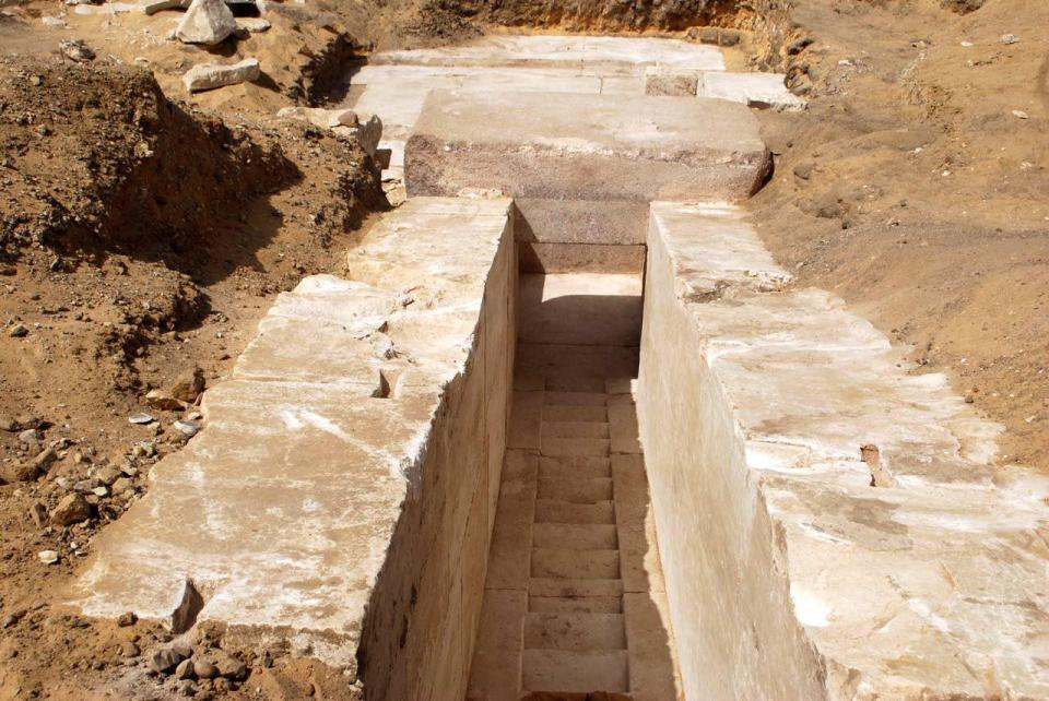 Entry to the 3,700 year old pyramid. Image: EPA