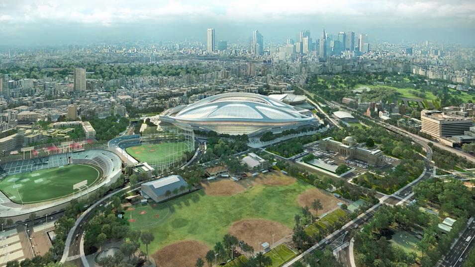 "Screenshot from ZHAs ""New National Stadium Video Presentation""."