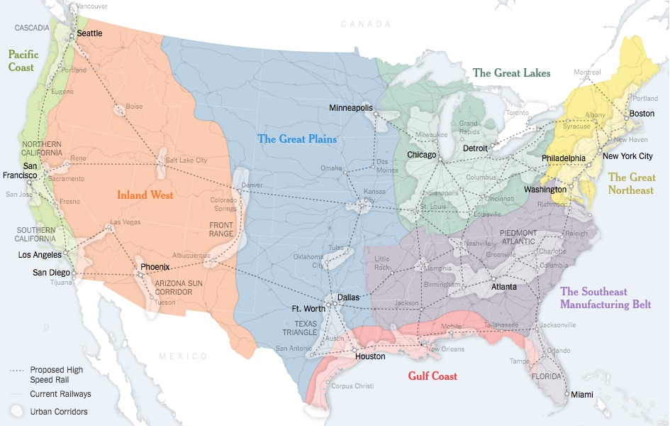 A map showing a possible future America, where boundaries are defined by economics and population rather than two century-old criteria. Credit: Sources: Joel Kotkin (boundaries and names of 7 mega-regions); Forbes Magazine; Regional Plan Association; Census Bureau; United States High Speed Rail Association; Clare Trainor/University of Wisconsin-Madison Cartography Laboratory. via the New York Times
