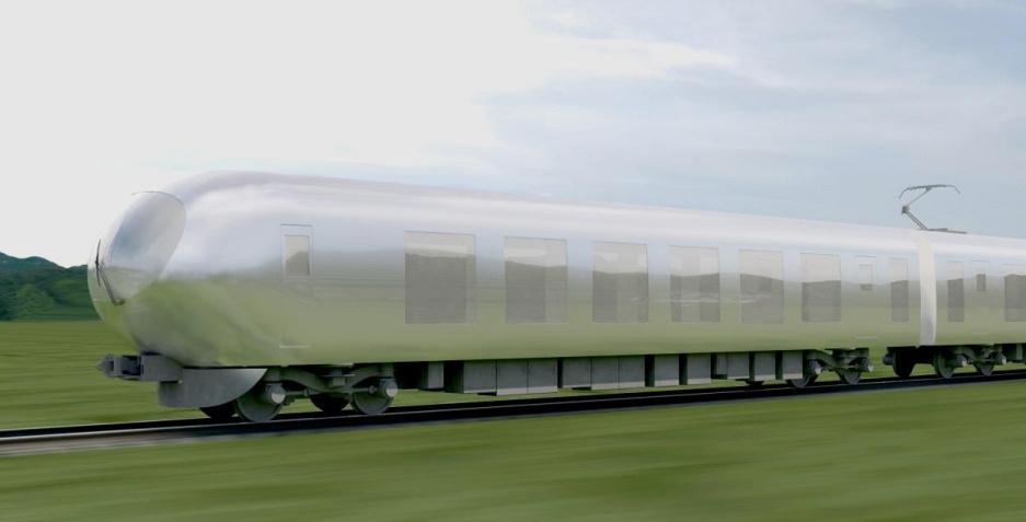 Initial rendering of Kazuyo Sejimas proposal for the Seibu Groups new bullet train. Image via Spoon & Tamago.