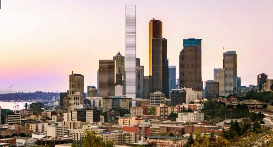 LMN Architects rendering of the proposed Fourth and Columbia Tower in Seattle. Screenshot via KOMO News.