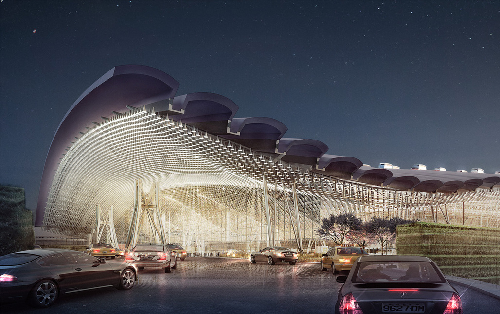 Proposal for Taiwan Taoyuan International Airports new Terminal 3, designed by Rogers Stirk Harbour + Partners, Ove Arup and Partners Hong Kong Limited.