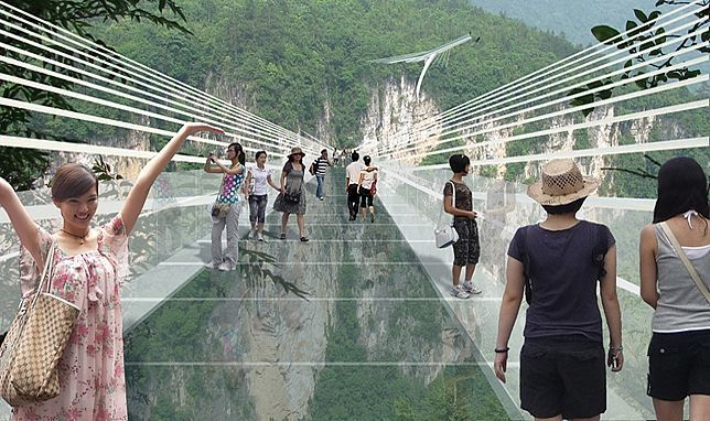 Rendering of the proposed glass-bottom bridge spanning across the Zhangjiajie Grand Canyon in Chinas Hunan province. (Image: Haim Dotan Ltd)