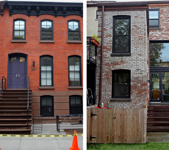 Andrea Mohin/The New York Times - Out front, left, Timm and Kelly Chiusanos town house on Huntington Street in Carroll Gardens, Brooklyn, retains its original exterior. But when the rear wall was rebuilt during extensive renovations, glass replaced brick, right.