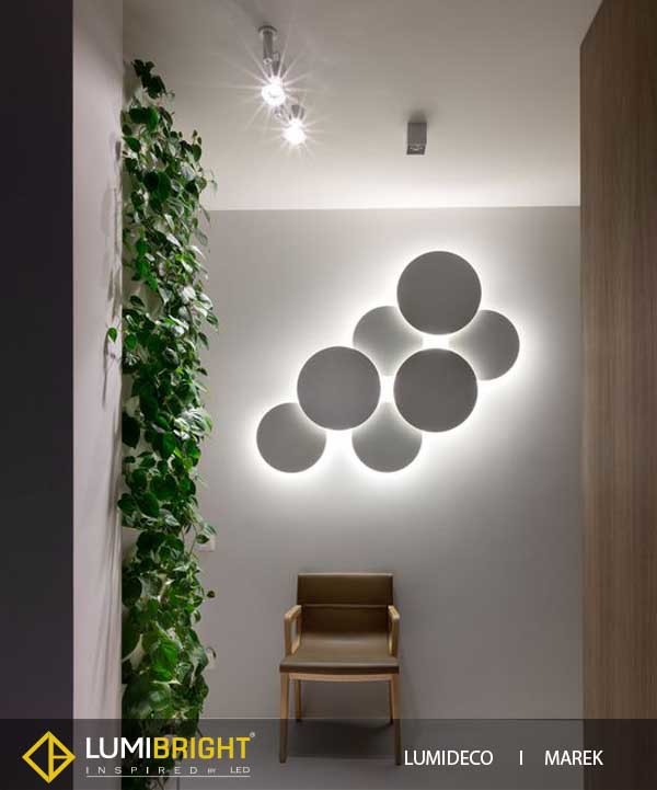 Lumideco range of creative wall lights for adding decor to walls great variety of models can be combined in endless configurations as if it were a motley of light the light source works off a single plug connection mozeypictures Choice Image