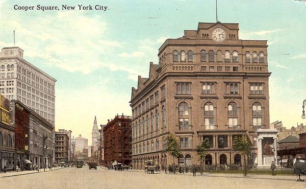 Vintage postcard of Cooper Union, circa 1917.