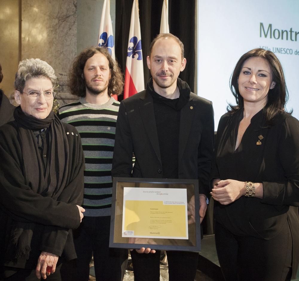 From left to right: Phyllis Lambert, Étienne Legast, Yannick Guéguen, and Manon Gauthier from the City of Montréal Executive Committee. Photo: Mathieu Rivard