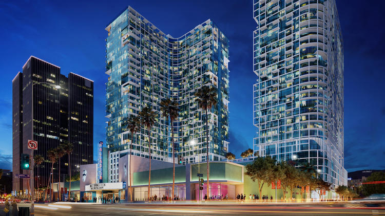 Renderings of the Palladium Residences, proposed towers for Hollywood. A contentious battle is taking place between those who argue for higher density construction and others worry about changes to the existing morphology of the city. Credit: Stanley Saitowitz / Natoma Architects