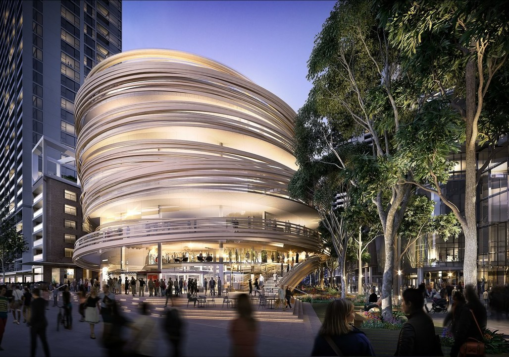"A render of the ""Darling Exchange."" Image credit Kengo Kuma Architects / the City of Sydney"