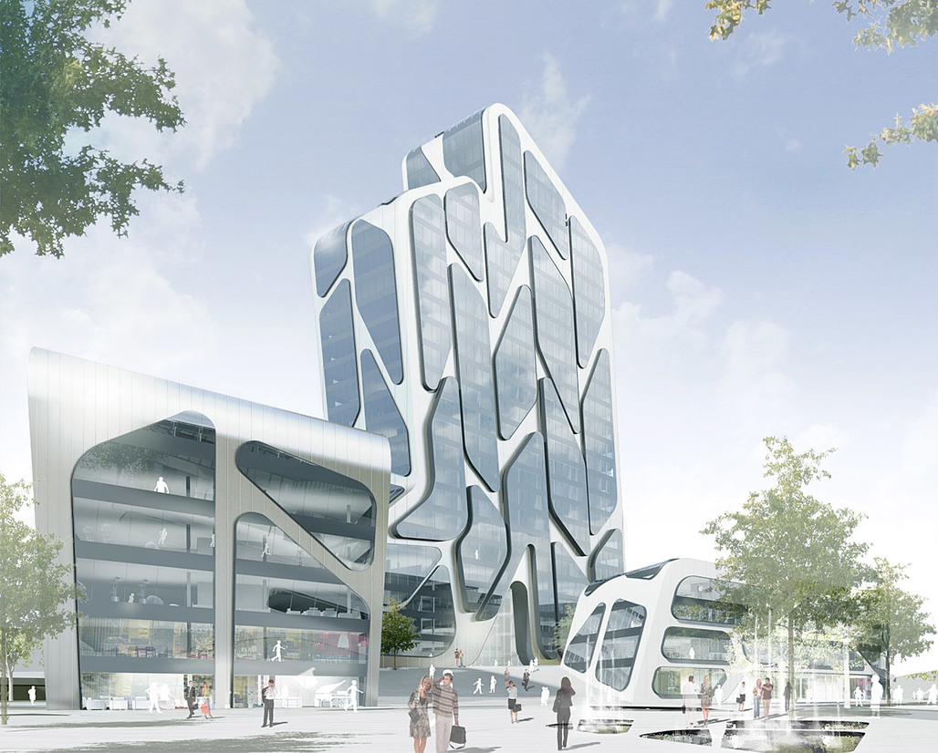 Visualization of J. MAYER H.s proposed Quartier M for Düsseldorf, Germany (Image: J. MAYER H.)