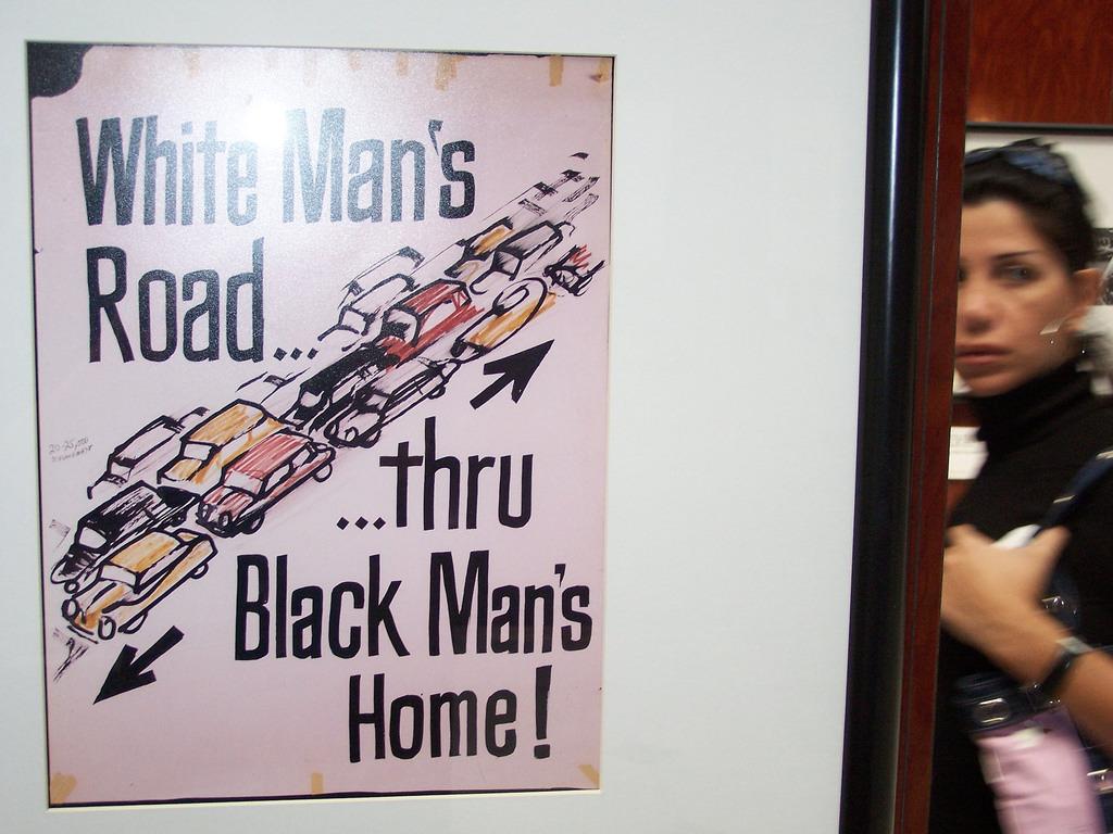 "Historical ""White Mans Road ... thru Black Mans Home!"" highway revolt poster. (Photo: Richard Layman/Flickr)"