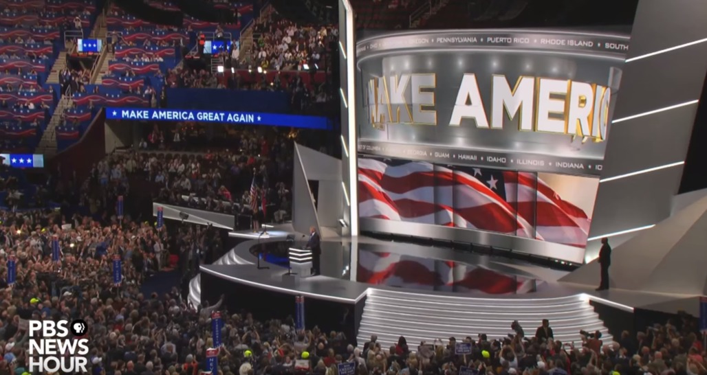 "Screen shot from PBS News Hours ""Donald Trump Jr. and New York delegates clinch nomination for Donald Trump"", via youtube.com."