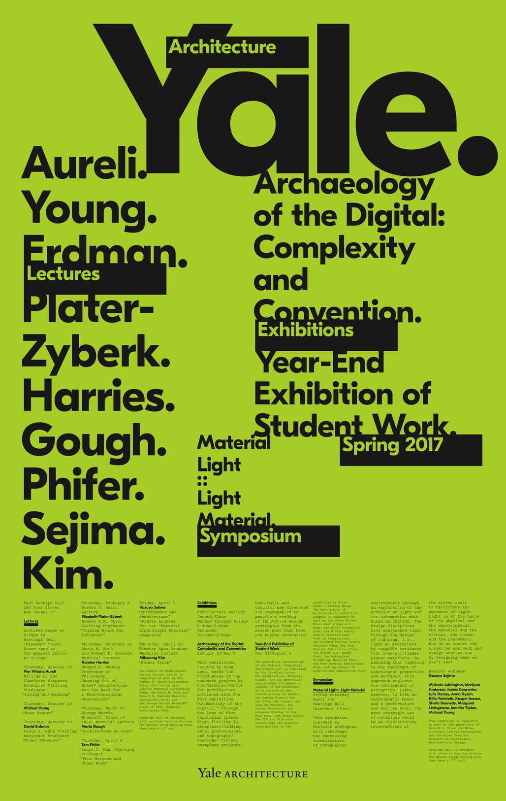 Poster designed by Pentagram. Courtesy of Yale School of Architecture.