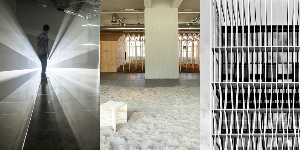 Finalists work (left to right): Quynh Vantu: Variable Measure, installation, 2014, Photo: Ben Premeaux; Malkit Shoshan: Zoo, or the Letter Z, just after Zionism, exhibition, 2011, Photo: Johannes Schwarz; Erik LHeureux: design of a factory building facade in Singapore, 2009–12, Photo: Kenneth Choo.