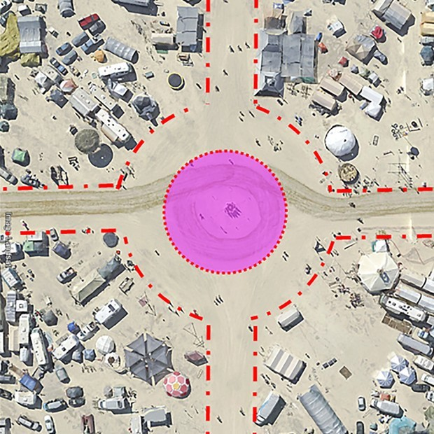 "Proposed ""Circle"" streetscape intervention by Phil Walker of CallisonRTKL for the Black Rock City Ministry of Urban Plannings recent ideas competition. (Image: CallisonRTKL, via citylab.com)"