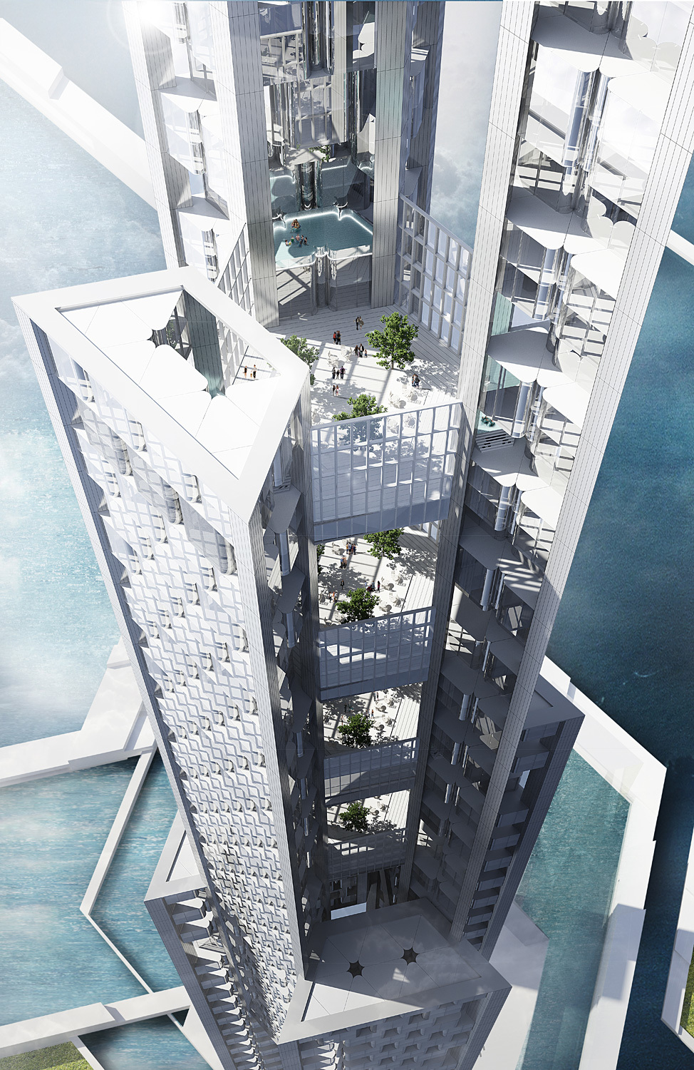 The cloud-harvesting Sky Mile Tower (rendering via KPF)