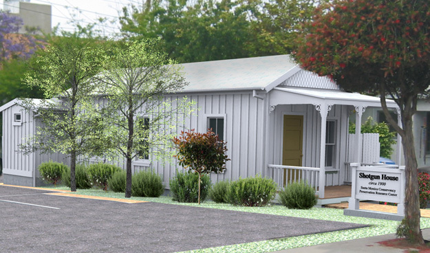 A render of the restored Shotgun House. Credit: Santa Monica Conservancy