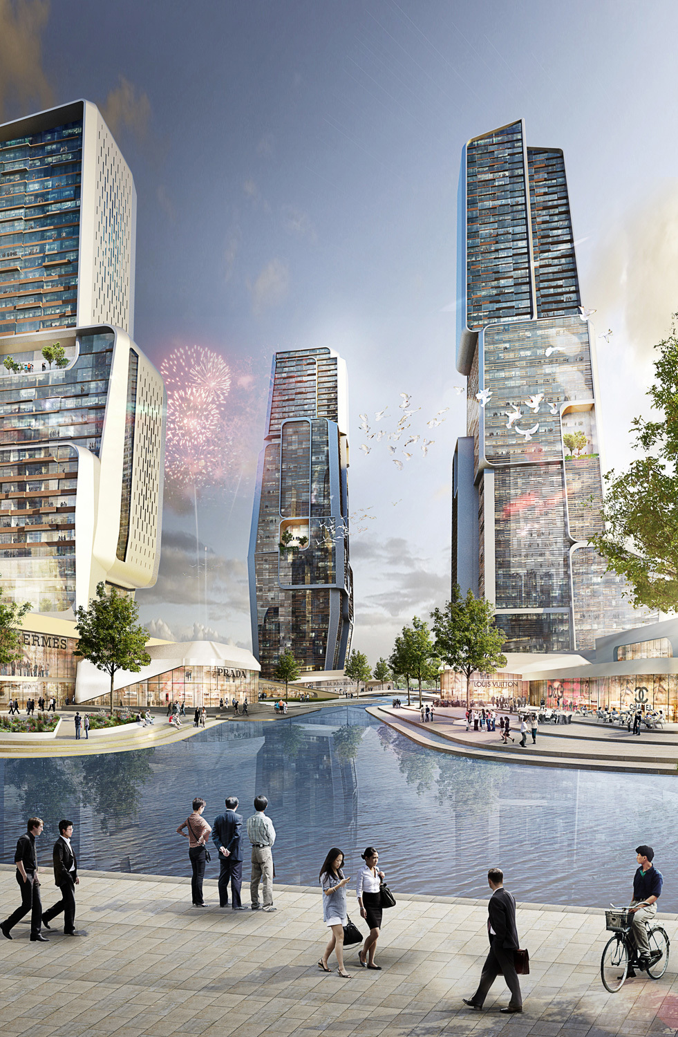 Rendering of UNStudios proposed Yongjia World Trade Center (Image courtesy of UNStudio; Rendering: moka-studio)