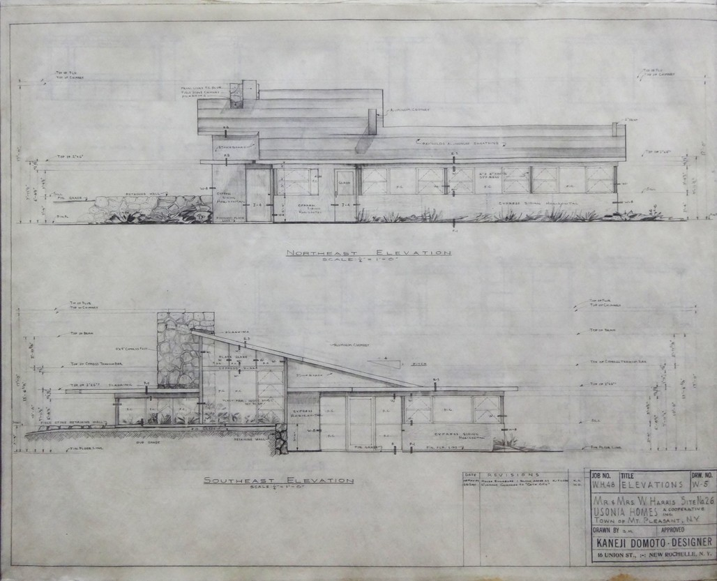 Kaneji Domotos elevation drawing of the Harris House.