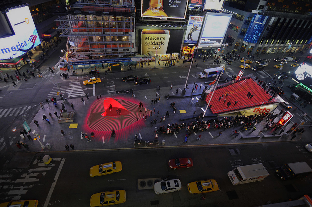 Aerial view of Situ Studios winning Times Square Valentine Heart design, Heartwalk