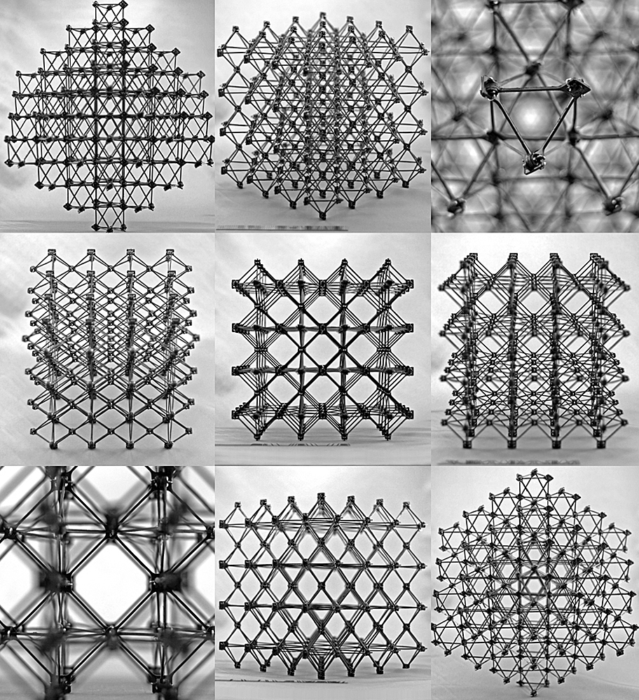 Different views of the cuboct lattice assembly which would make up the structure.