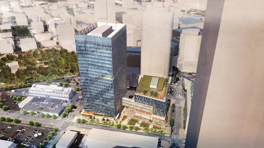 A rendering of Amazons new headquaters in Seattle. Half of the six-storey building on the right is planned to house the shelter.