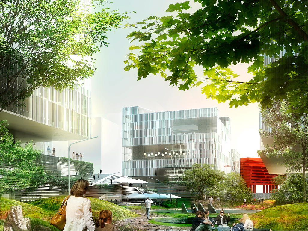 Exterior rendering of the Green Valley Project development which just broke ground in Shanghai (Image: schmidt hammer lassen architects)