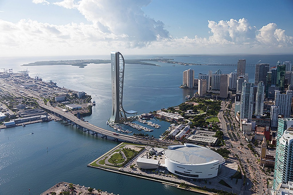 Rendering of the proposed SkyRise entertainment and observation tower in Miamis Biscayne Bay. If completed, it could become the tallest building in Miami and in the State of Florida. (Image via skyrisemiami.com)