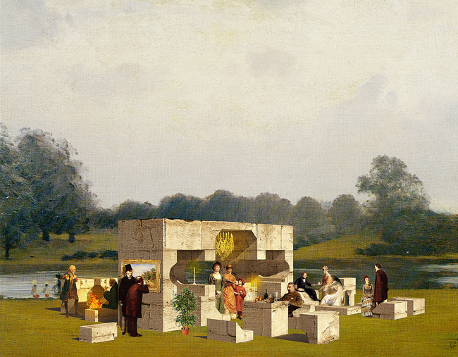 A fanciful rendering of NLÉs Summer Pavilion. Construction of the five pavilions that will grace Hyde Park this summer has begun. Credit: NLÉ via the Serpentine Galleries