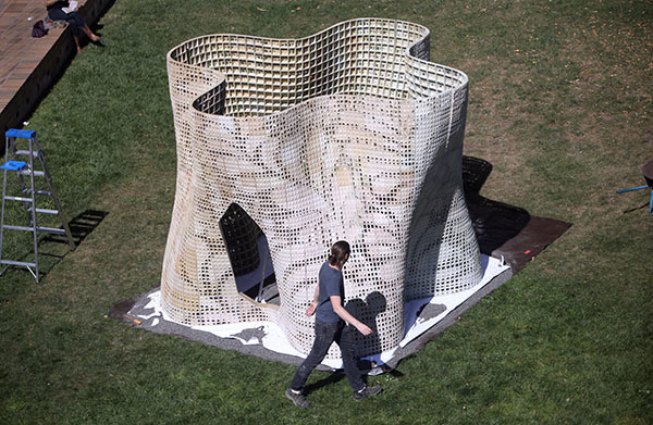"The completed ""Bloom"" structure in the courtyard of UC Berkeleys Wurster Hall. (Photo: Tom Levy; Image via berkeley.edu)"