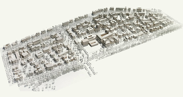 Model of West 8s winning Freiham Nord proposal. © West 8 urban design & landscape architecture