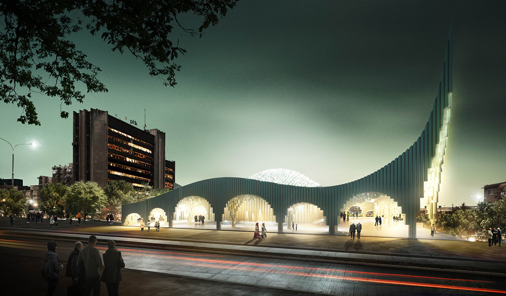 Street view of the Prishtina Central Mosque entry by Taller 301 and L+CC (Image: Taller 301 and L+CC)